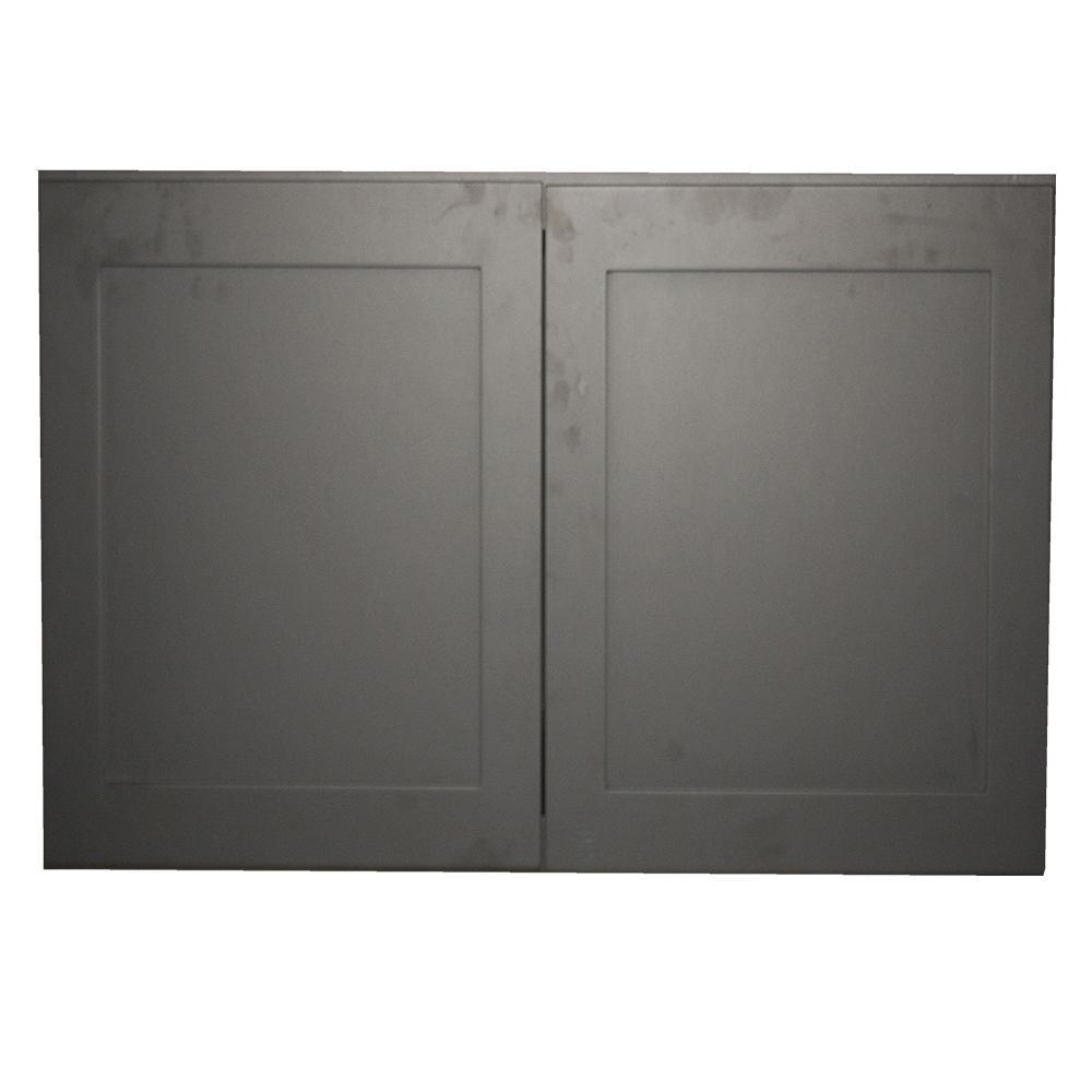 Black Satin Shaker II - Ready to Assemble 36x30x12 in. 2-Door 2-Shelf Wall Cabinet