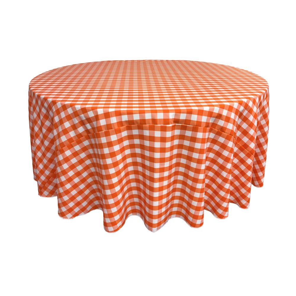 White And Orange Polyester Gingham Checkered Round Tablecloth, White/