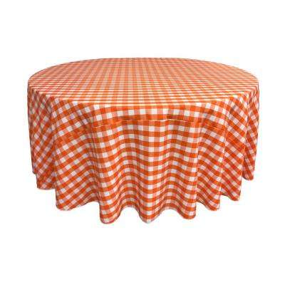 132 in. White and Orange Polyester Gingham Checkered Round Tablecloth