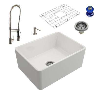 Classico All-in-One Farmhouse Fireclay 24 in. Single Bowl Kitchen Sink with Maggiore Brushed Nickel Faucet and Soap Disp
