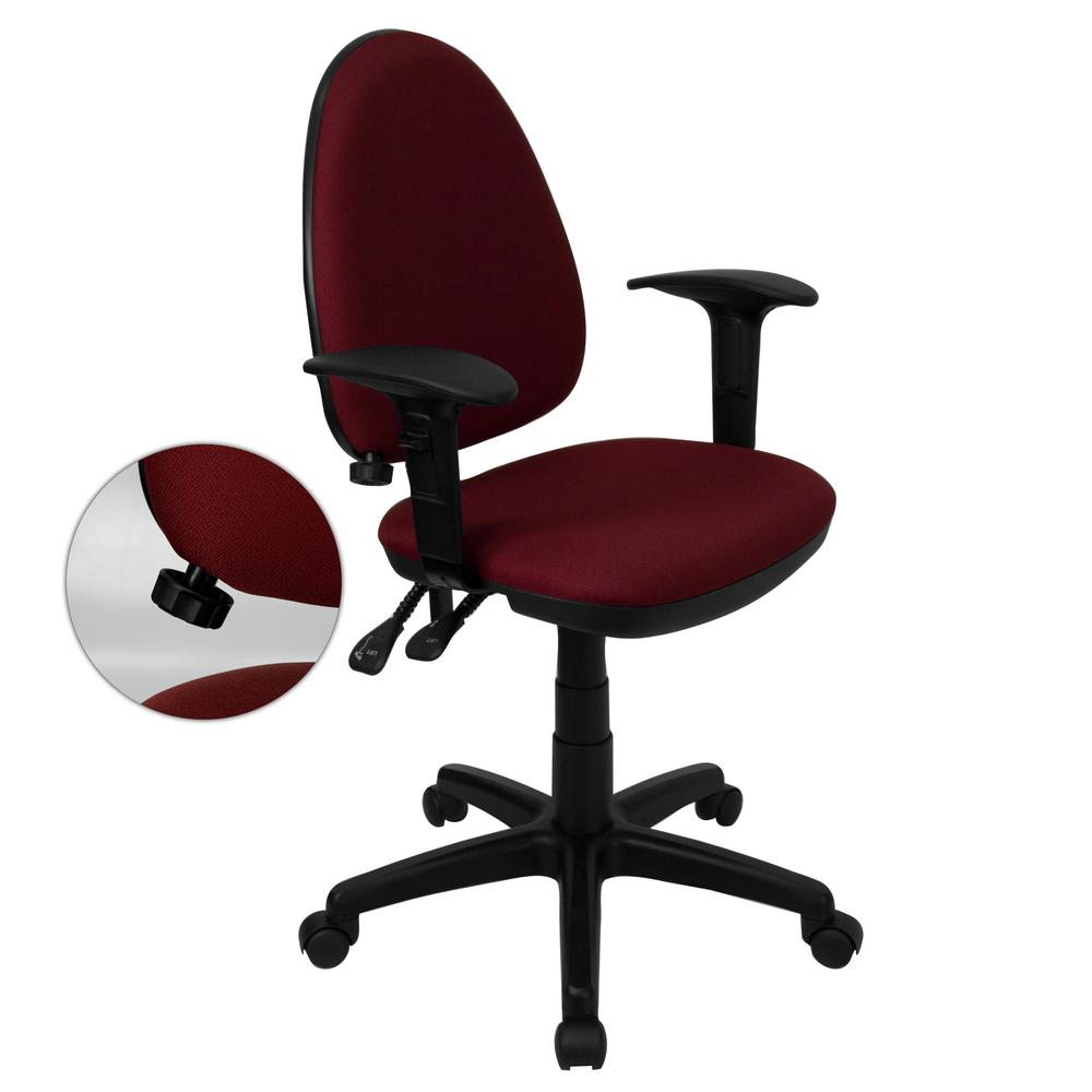 Flash Furniture Mid Back Burgundy Fabric Multi Functional Swivel Task Chair  With Adjustable Lumbar