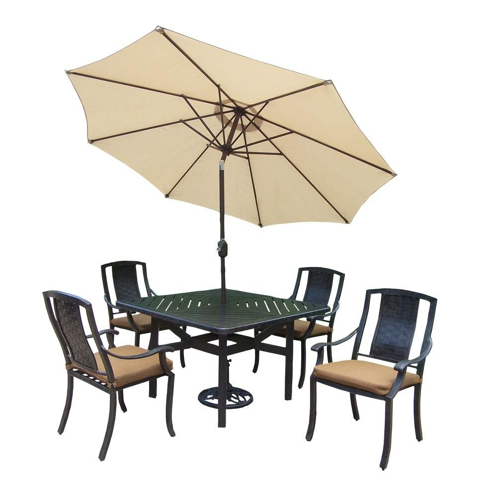 Oakland Living 7 Piece Square Aluminum Patio Dining Set With Sunbrella  Canvas Teak Cushions And