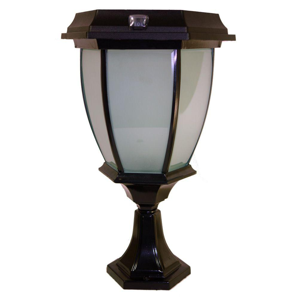 Solar Goes Green Black Led Outdoor Warm White Coach Light With Convex Gl Panels And