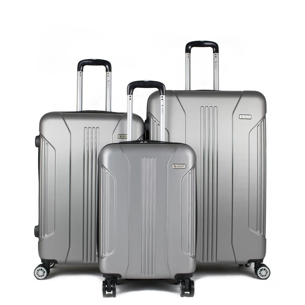 Sierra Silver 3-Piece Expandable Hardside Spinner Luggage with TSA Lock