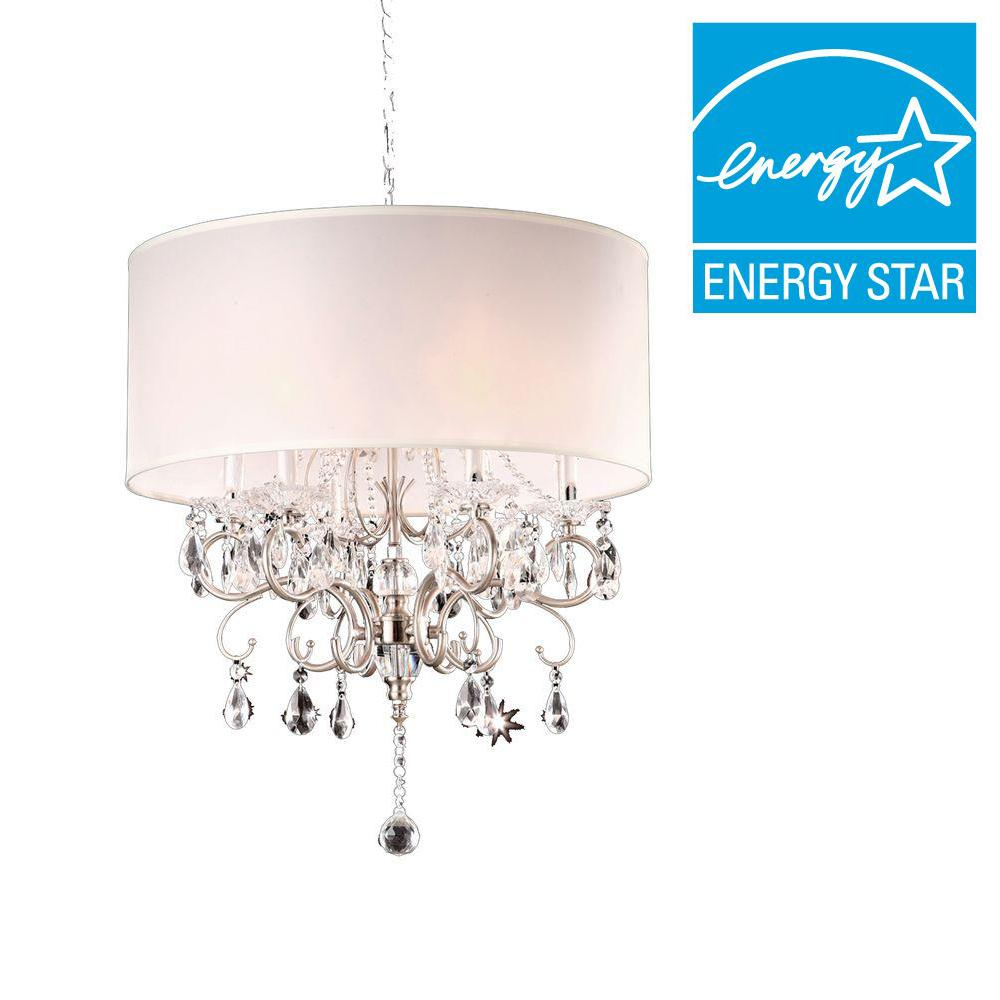 6-Light Crystal Silver Chandelier