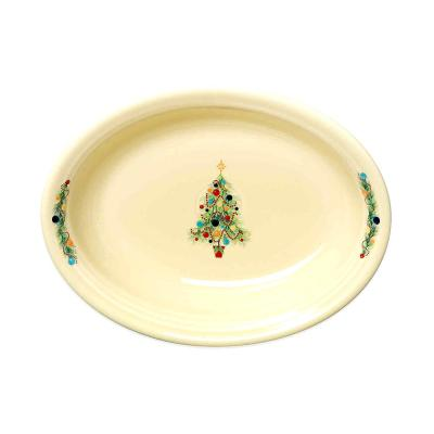 10-1/4 in. 40 oz. Ivory Ceramic Christmas Tree Oval Vegetable Bowl