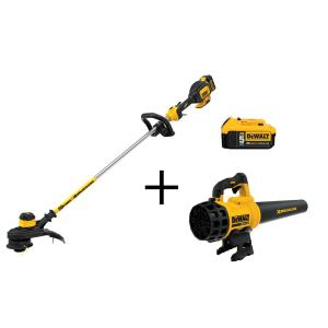 Dewalt 13 inch 20-Volt MAX Lithium-Ion Cordless String Grass Trimmer with 5.0Ah Battery, Charger and Bonus Blower and... by DEWALT