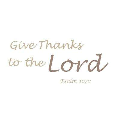 Brown Give Thanks Wall Quote Decal