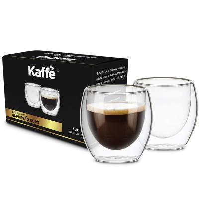 KF4040. 2 Cup Set Double-Walled Espresso Glass