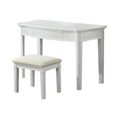 Silesia White and Ivory Vanity and Stool