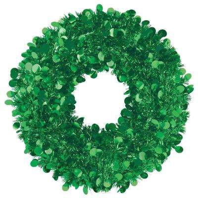 17 in. Green Tinsel Wreath (2-Pack)