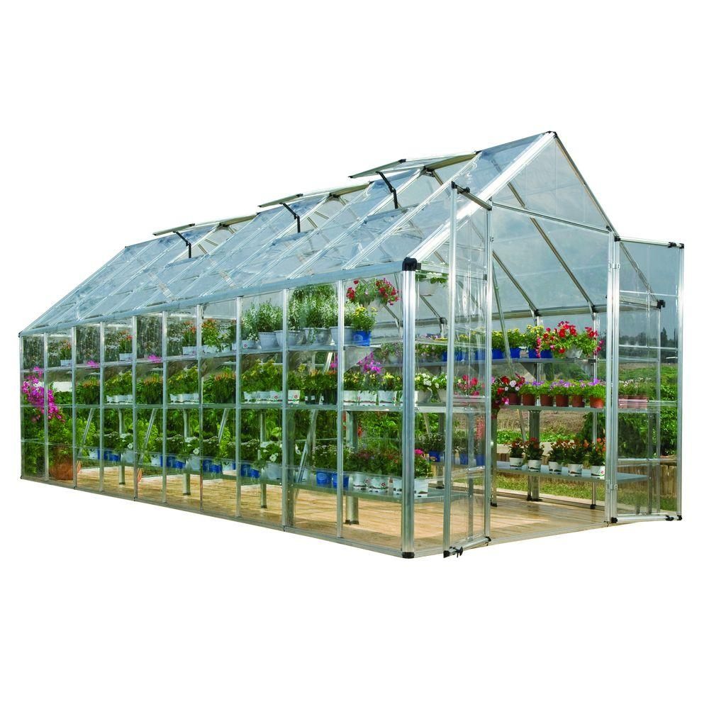 Palram Snap and Grow 8 ft. x 20 ft. Silver Polycarbonate Greenhouse