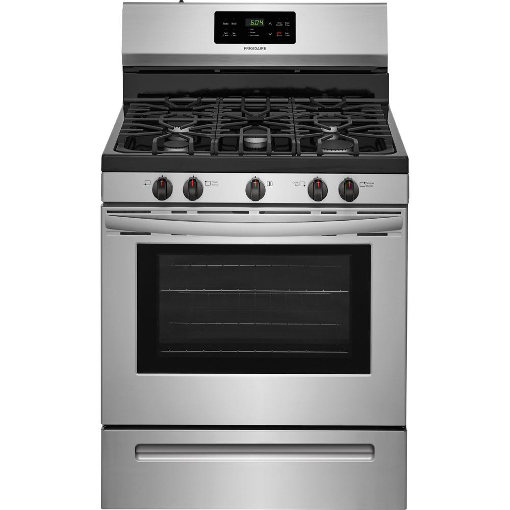 30 In 5 0 Cu Ft Gas Range With Self Cleaning Oven Stainless Steel