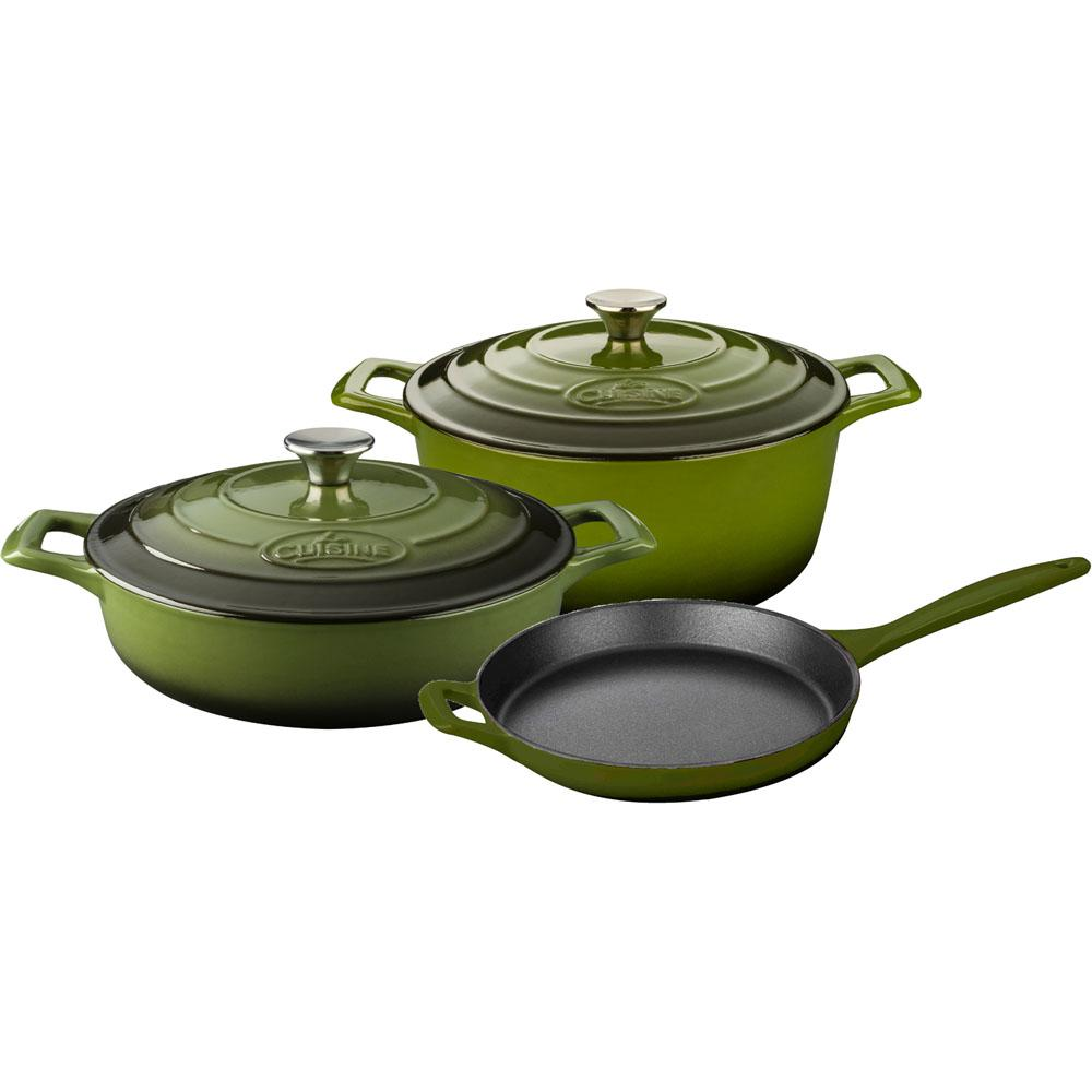 5-Piece Enameled Cast Iron Cookware Set with Saute, Skillet and Round