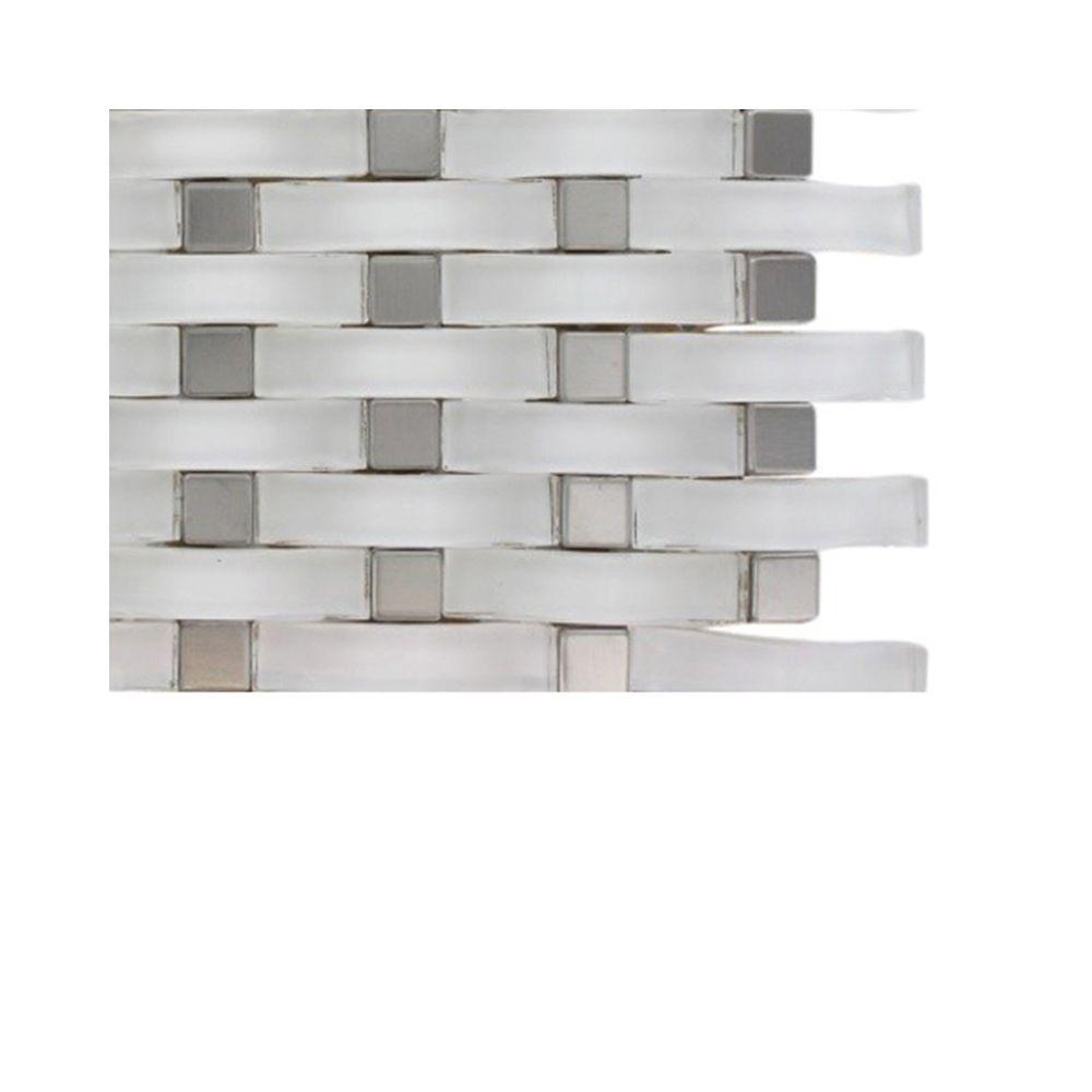 Contempo Curve Bright White Glass Mosaic Floor and Wall Tile -
