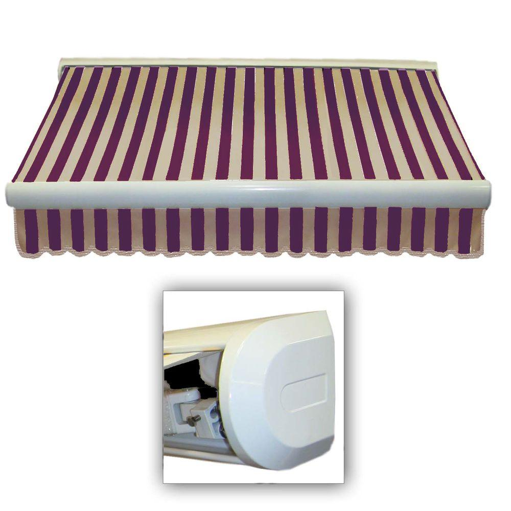 AWNTECH 10 ft. Key West Left Motorized Retractable Awning (96 in. Projection) in Burgundy Tan Stripe