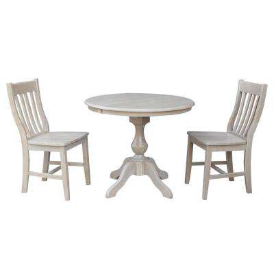 Sophia 3-Piece Oval Weathered Gray Dining Set with Caf Chairs