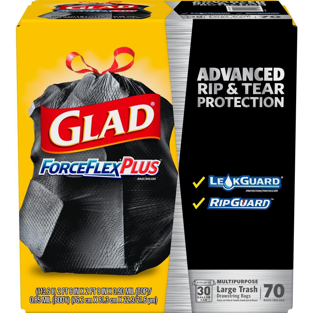 30 Gal. Drawstring ForceFlexPlus Large Black Trash Bags (70-Count)