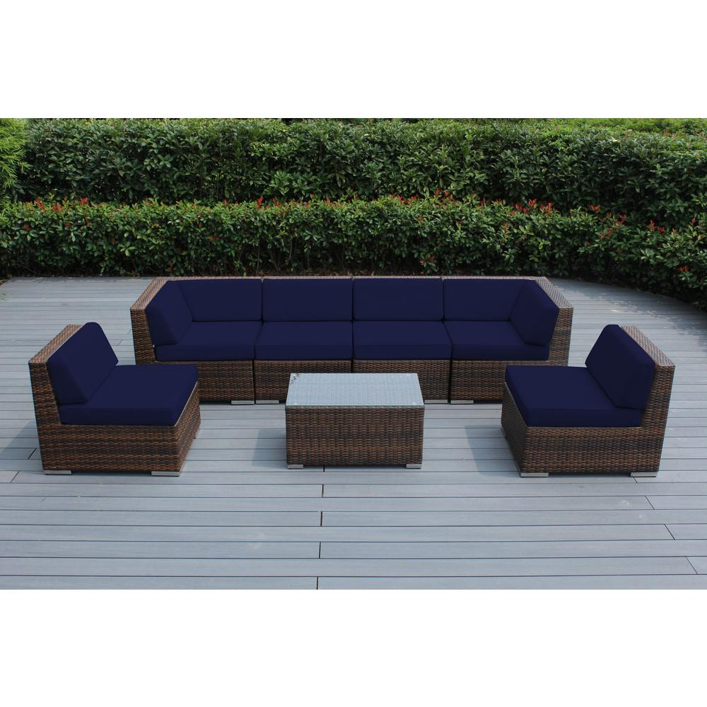 Ohana Depot Mixed Brown 7-Piece Wicker Patio Seating Set with Sunbrella Navy Cushions