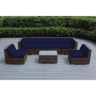 Mixed Brown 7-Piece Wicker Patio Seating Set with Sunbrella Navy Cushions