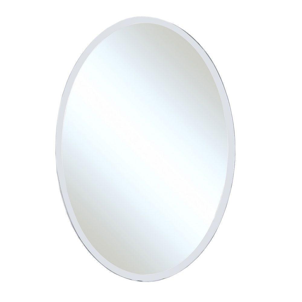 Bellaterra Home Winlock 21 in. x 31 in. Single Frameless Oval Wall Mount Beveled Mirror