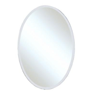 Winlock 21 in. x 31 in. Single Frameless Oval Wall Mount Beveled Mirror