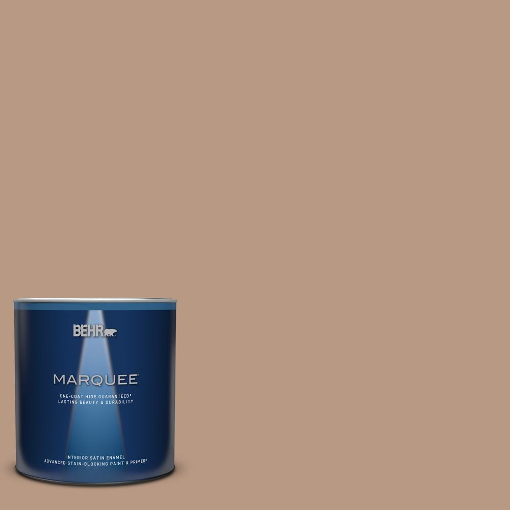 Behr Marquee 1 Qt 250f 4 Stone Brown One Coat Hide Satin Enamel Interior Paint And Primer In One 745404 The Home Depot