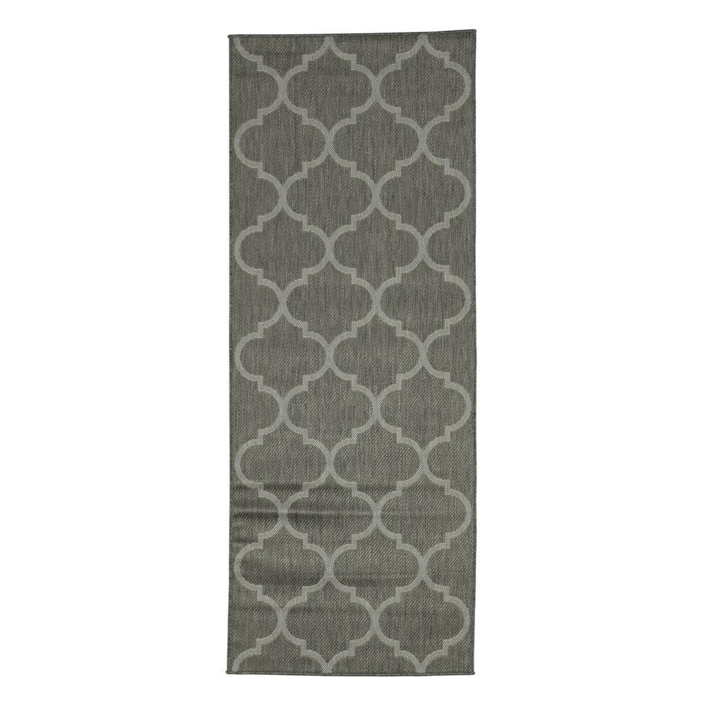 Ottomanson Jardin Collection Dark Gray Morrocan Trellis Design Indoor Outdoor 3 Ft X 7