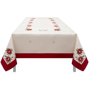 Internet #301053521. CHI Holiday 70 In. X 120 In. Poinsettia Embroidered Rectangular  Tablecloth ...