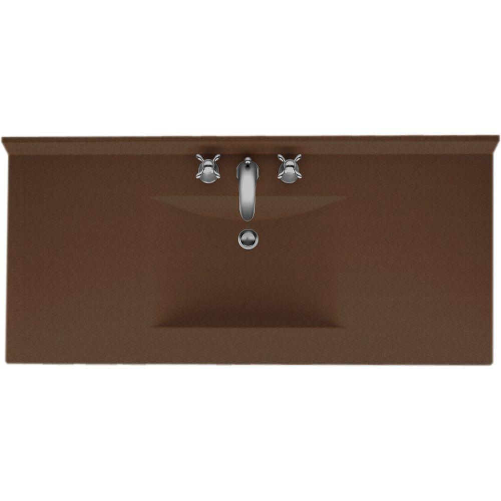 Swanstone Contour 43 in. Solid Surface Vanity Top in Acron with Acorn Basin-DISCONTINUED