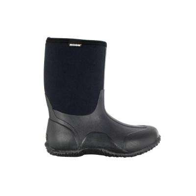 Classic Mid Women 10 in. Size 12 Black Rubber with Neoprene Waterproof Boot
