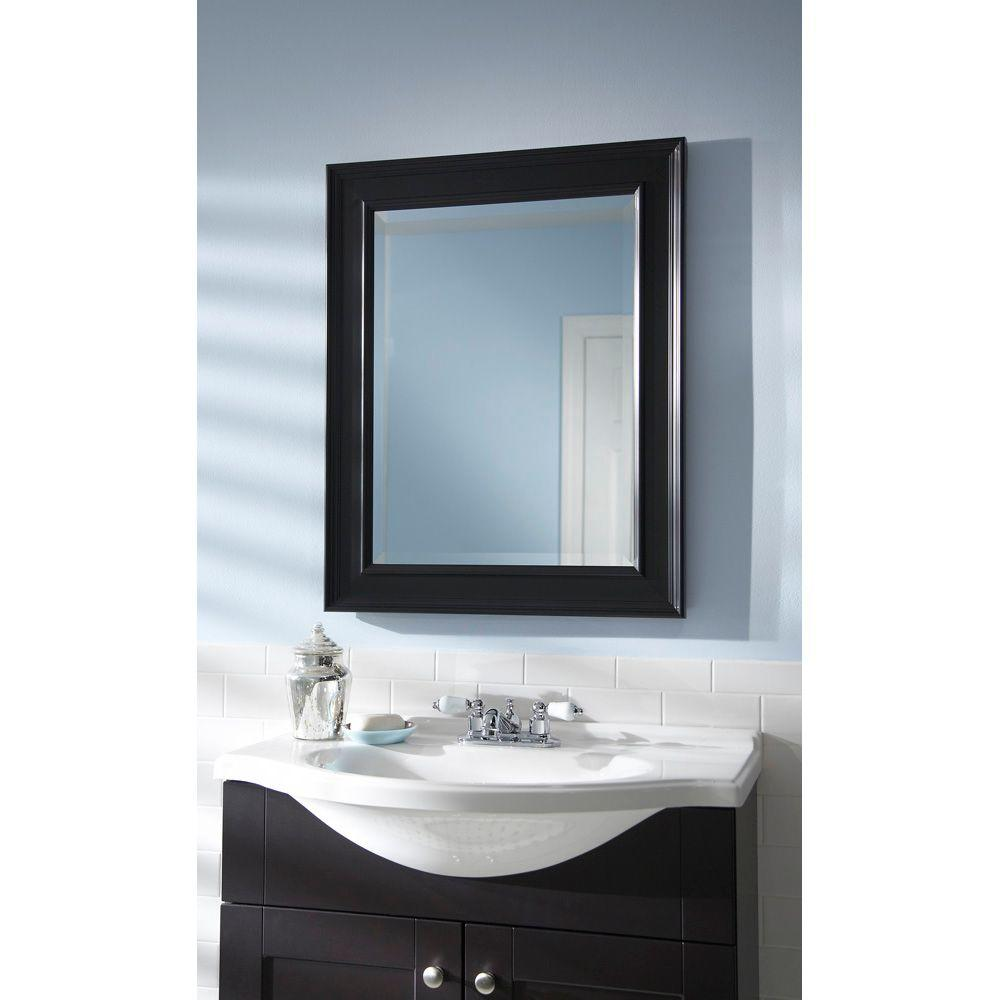 bathroom mirror 30 x 40 martha stewart living grasmere 30 in x 24 in black 22219