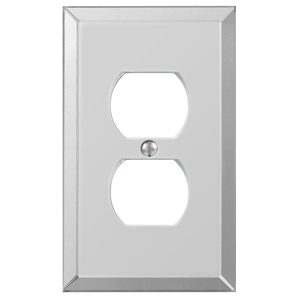 Hampton Bay Acrylic 1 Gang Duplex Acryilic Wall Plate Polished Mirror 66dhb The Home Depot