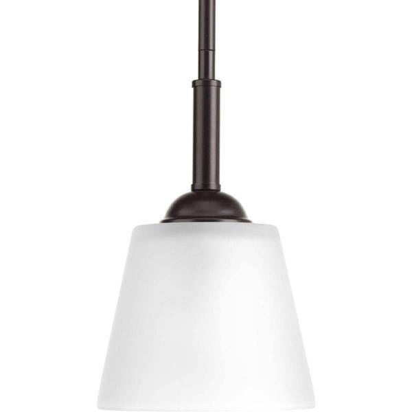 Arden Collection 1-Light Antique Bronze Mini Pendant with Etched Glass