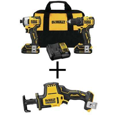 ATOMIC 20-Volt MAX Li-Ion Brushless Cordless Combo Kit (2-Tool)with Bonus Brushless Compact Recip Saw (Tool-Only)