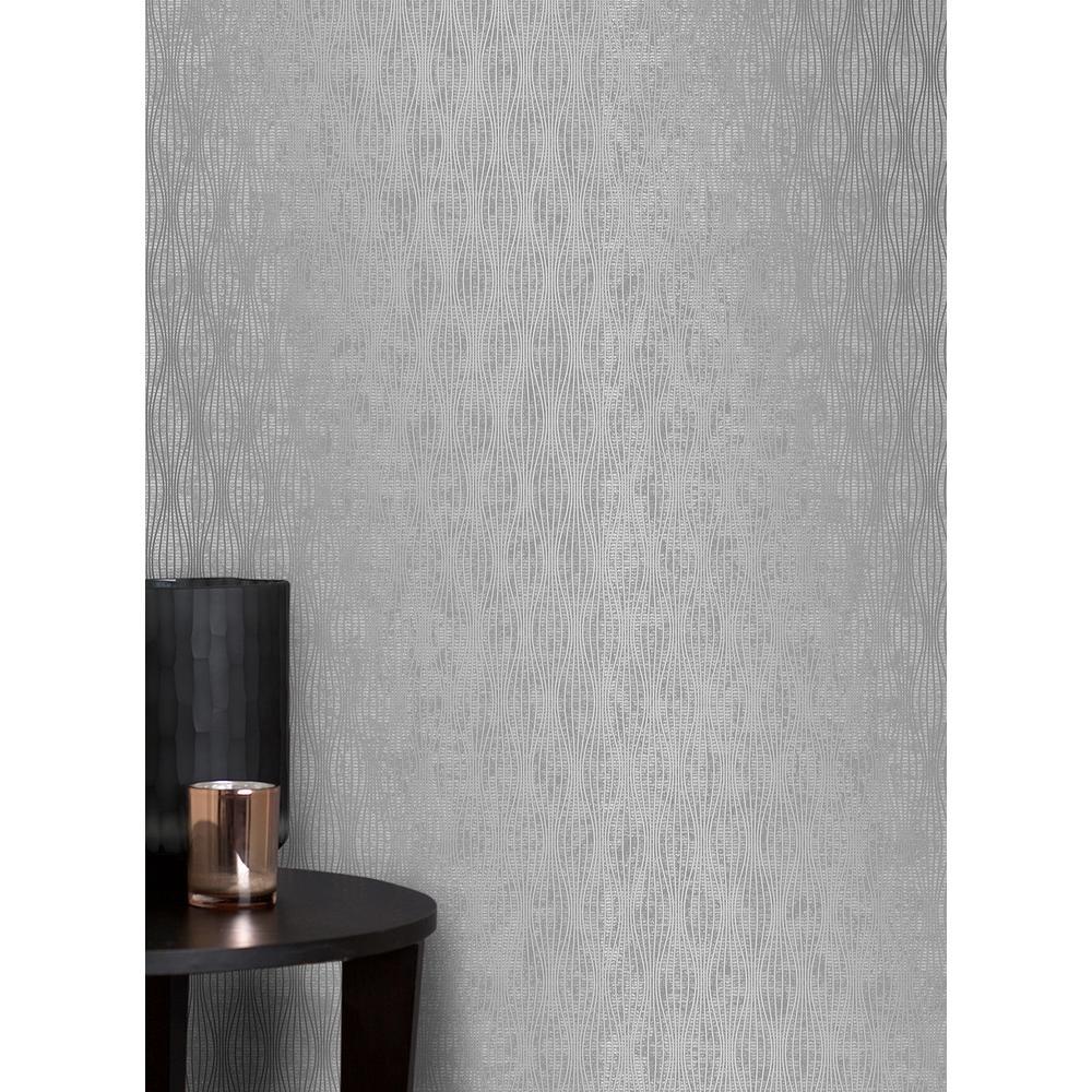 Brewster Kalix Silver Wave Wallpaper by Brewster