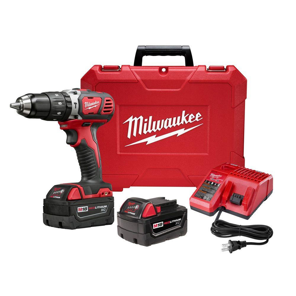 Milwaukee M18 18-Volt Lithium-Ion Cordless 1/2 in. Hammer Drill Driver Kit w/(2) 3.0Ah Batteries, Charger & Hard Case
