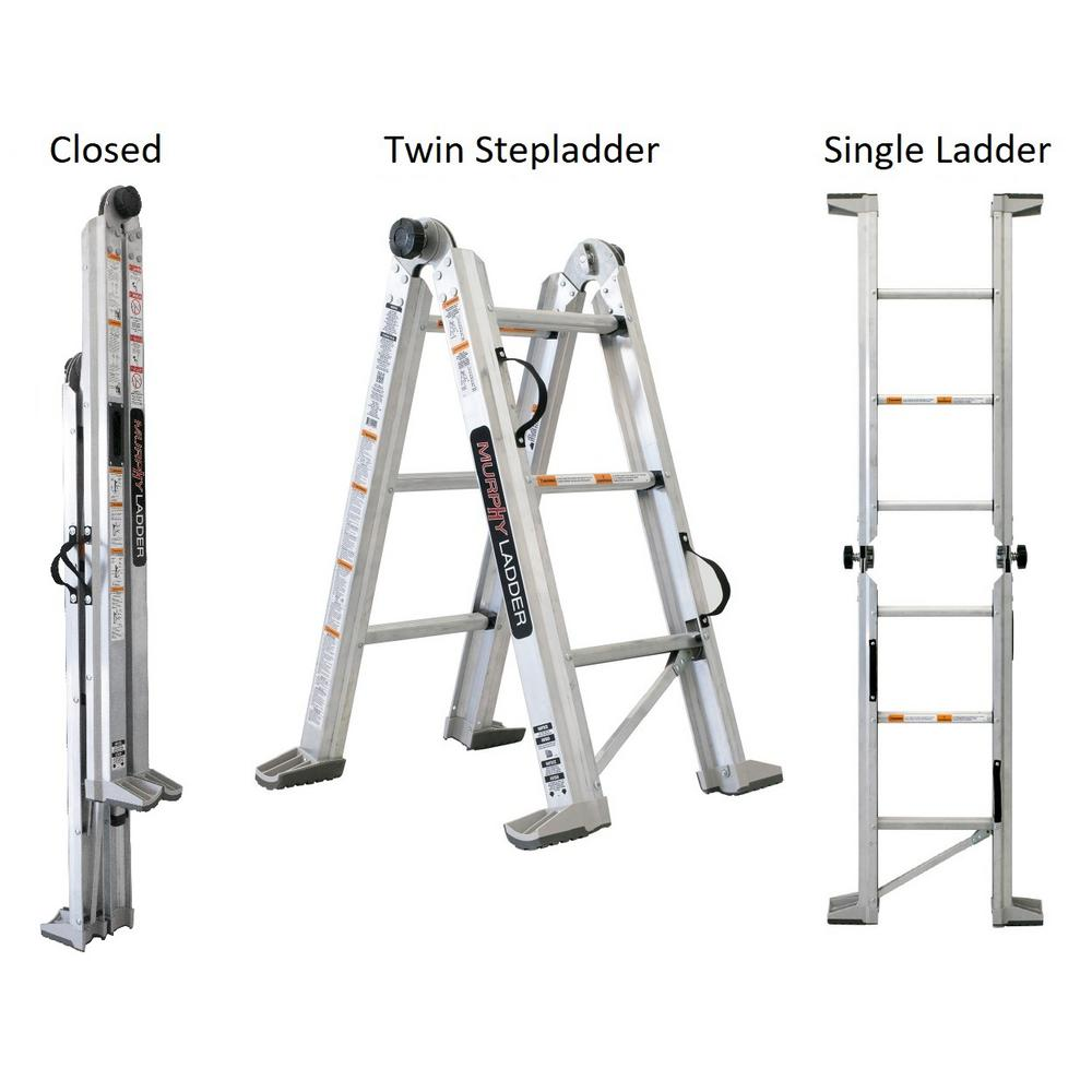 MURPHYLADDER MURPHY LADDER 10 ft. Reach 7 ft. Height Aluminum Fully Compactable Multi-Position Ladder 375 lbs. Capacity Type IAA Duty Rating