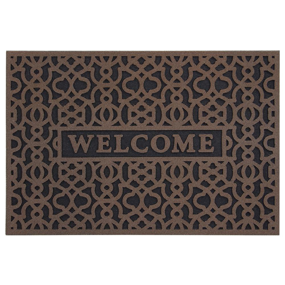 TrafficMASTER Geo Welcome Brown 24 in  x 36 in  Door Mat