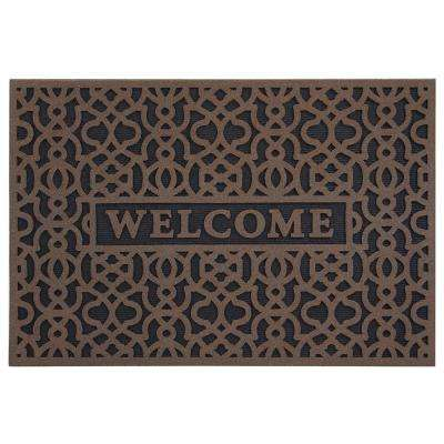Geo Welcome Brown 24 in. x 36 in. Door Mat