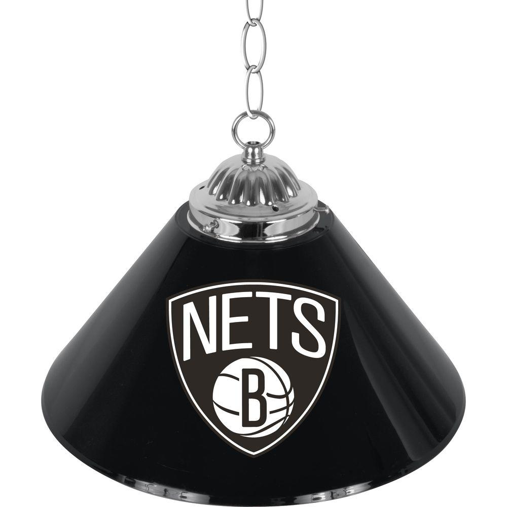 Brooklyn Nets 14 in. 1-Light Single Shade Stainless Steel Hanging Lamp