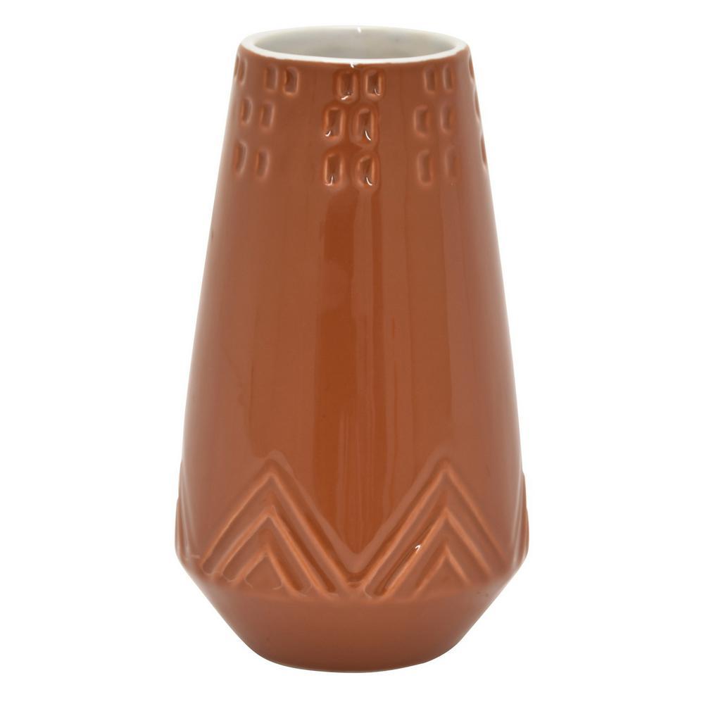 7 in. Ceramic Vase In Orange