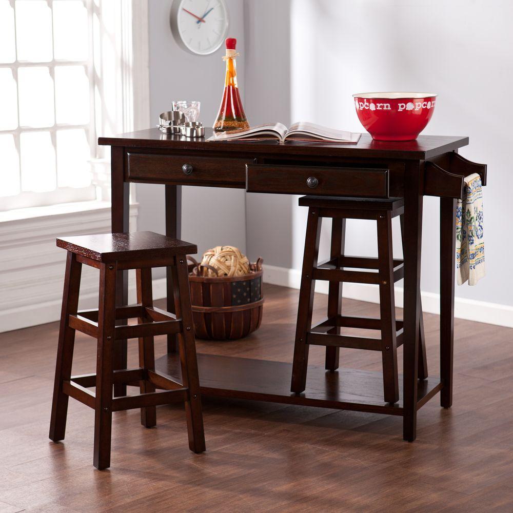 Felton 3-Piece Espresso Bar Table Set