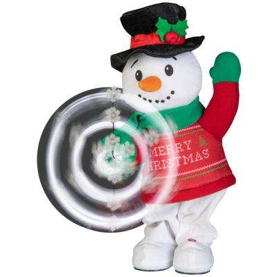 16.93 in. Christmas Animated Plush Snowman Snowflake Spinner