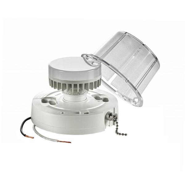 Leviton 10 Watt Led Ceiling Lamp Holder With Pull Chain White R50 09852 000 The Home Depot