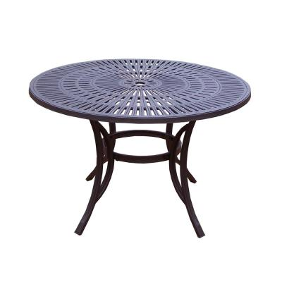 48 in. Coffee Brown Round Cast Aluminum Outdoor Dining Table with Umbrella Hole