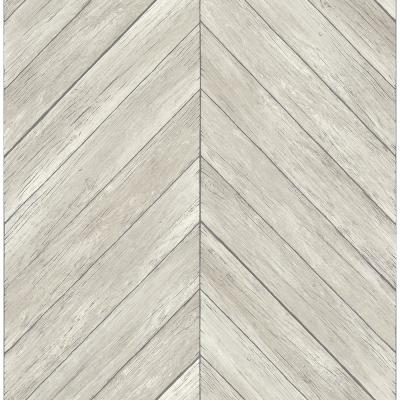 56.4  sq. ft. Parisian Light Grey Parquet Wallpaper