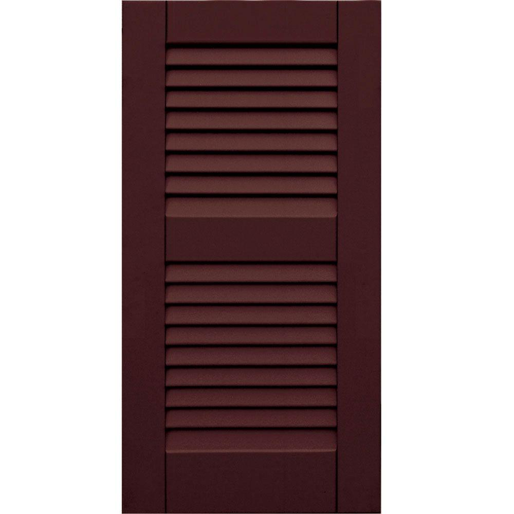 Winworks Wood Composite 15 in. x 30 in. Louvered Shutters Pair #657 Polished Mahogany