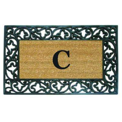 Acanthus Border 22 in. x 36 in. Rubber Coir Monogrammed C Door Mat