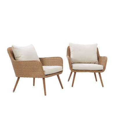 Landon Wicker Outdoor Lounge Chair with White Cushions (2-Pack)